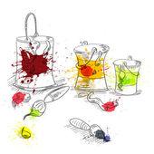 štětce s plechovky od barev