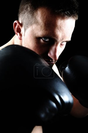 Photo for Artistic portrait of attractive boxer against black background - Royalty Free Image