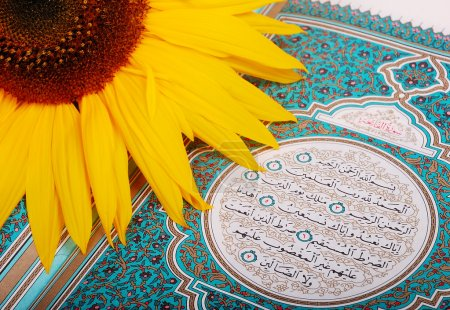 Sunflower put on holy Islam book Koran
