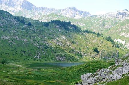 Lake in mountain hills