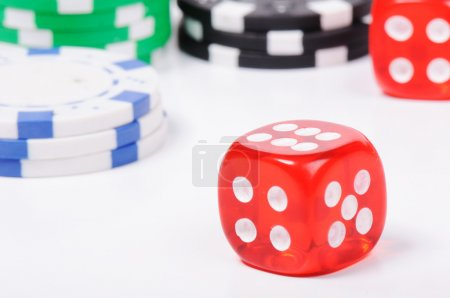 Casino, coins, cubes, isolated