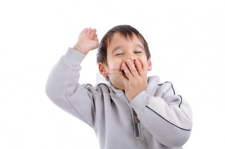 Positive child isolated, laughing and gesturing