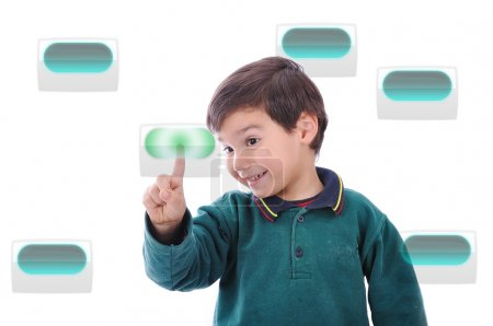 Little cute child pressing digital buttons on touchscreen, ideal for your concept