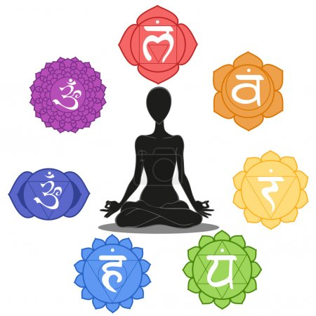 Photo for Man silhouette in yoga position with the symbols of seven chakras - Royalty Free Image