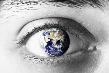 Earth sphere in eye