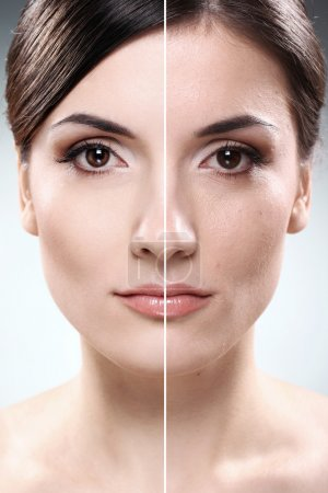 Photo for Face of beautiful woman before and after retouch - Royalty Free Image