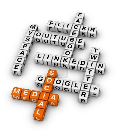 Photo pour Mots croisés des sites de réseautage social les plus populaires - image libre de droit
