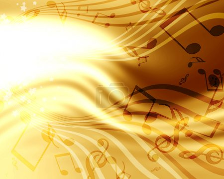 Photo pour Abstrait fond doré coulant avec musique - image libre de droit