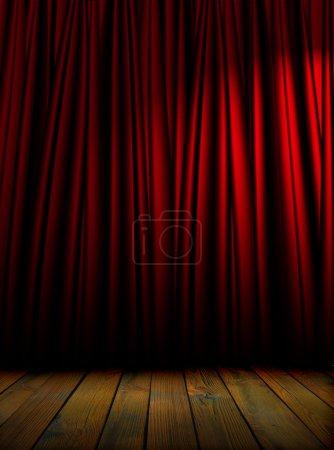 Photo pour Rideaux de théâtre rouge avec éclairage tamisé - image libre de droit