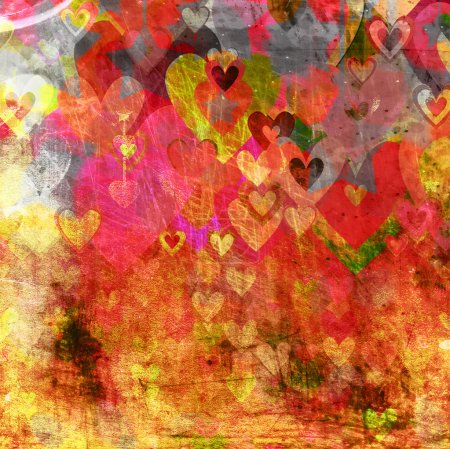 Photo for Abstract grunge background with hearts and stars - Royalty Free Image