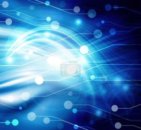 Photo pour Carte mère d'ordinateur sur fond bleu, abstrait - image libre de droit