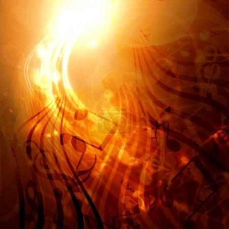 Photo pour Or abstrait avec des notes de musique - image libre de droit