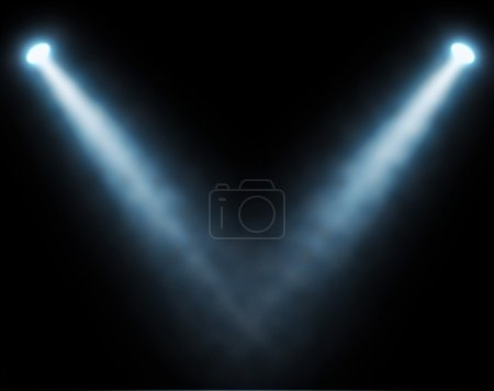 Blue spotlights