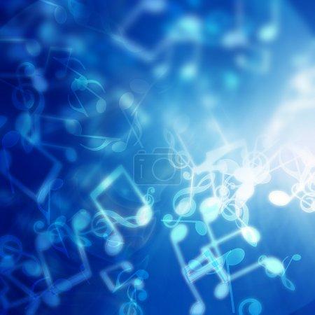 Photo pour Abstrait bleu avec des notes de musique - image libre de droit