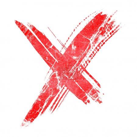 Photo pour Dessin à la main une croix rouge sur fond blanc - image libre de droit
