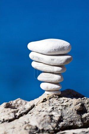 Stone stack balance, Adriatic coast Croatia