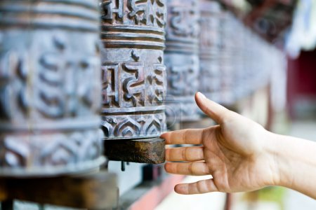 Prayer wheel in monastery, Nepal