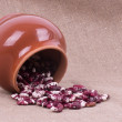Color kidney beans in a bowl isolated on a white b...