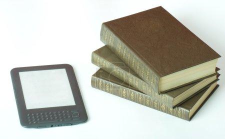 Digital e-book and books isolated