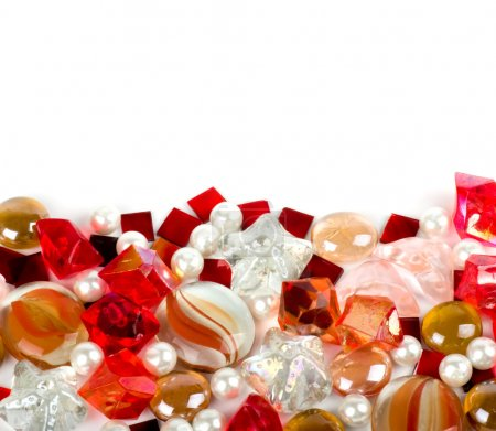 Beautiful bright colorful stones and pearl