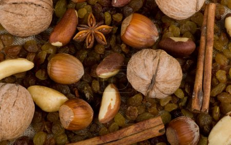 Background with nuts, raisin, cinnamon and spices