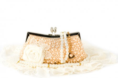 Sexy fashionable handbag with pearl jewelry