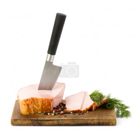 Photo for Ham on wooden platter with spices - Royalty Free Image