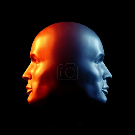 Photo for Two-faced head statue suggesting extremes or split personality. Fire & Ice. - Royalty Free Image