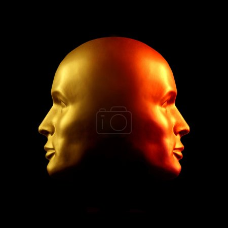 Two-faced head statue, red and gold