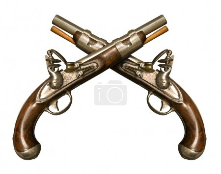 Two Crossed Flintlock Pistols