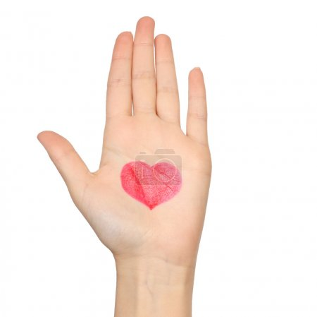 Human hand with drawn heart