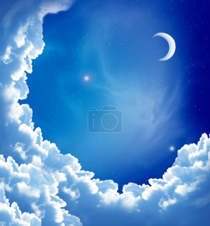 Photo for Night sky with fantasy beautiful clouds and moon - Royalty Free Image