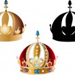 Illustration with three crowns isolated on white b...