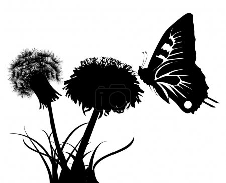 Illustration for Illustration with silhouettes of butterfly and two dandelions - Royalty Free Image
