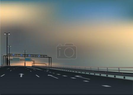 free highway under dark sky