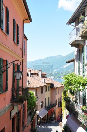 Narrow street of Bellagio town at Como lake