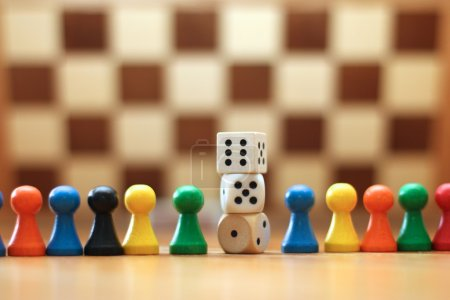 Photo for Board Game Pieces and Dices - Royalty Free Image