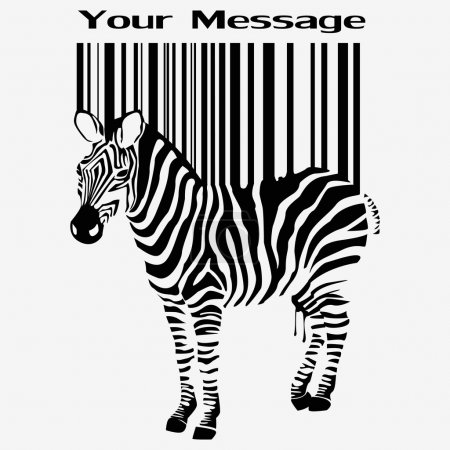 Illustration for Abstract vector zebra silhouette with barcode - Royalty Free Image