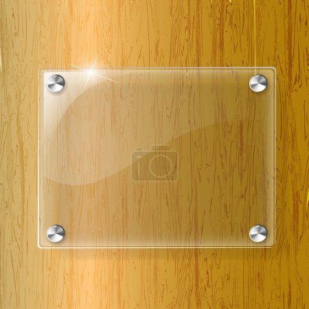 Glasplatte auf Holz Hintergrund