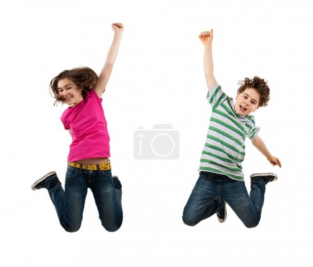 Girl and boy jumping isolated on white background