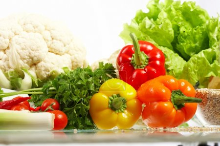 Fresh Vegetables. Fruits and other foodstuffs.