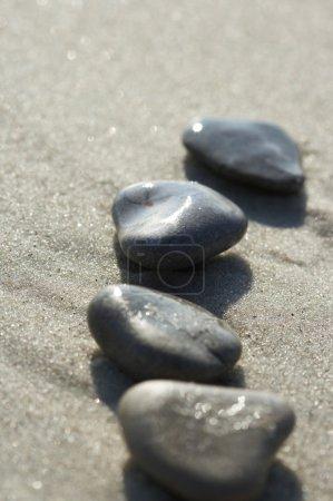 Photo pour Pierres sur le sable à la mer, un caillou - image libre de droit