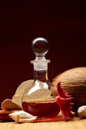 Still-life with a bottle and exotic subjects