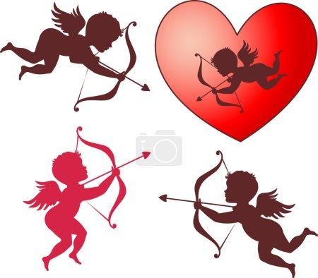 Illustration pour Collection Cupidon sucré pour la Saint Valentin - image libre de droit