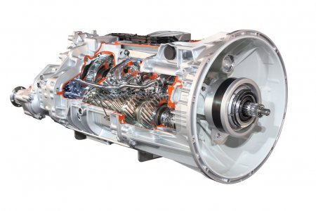 Heavy truck automatic transmission front view isolated