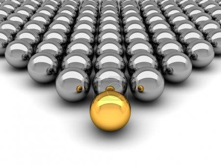 Leadership concept - 3D illustration chrome balls
