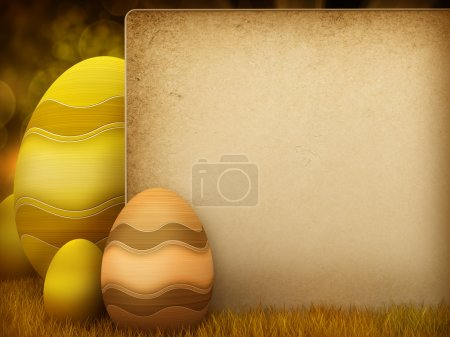 Easter eggs - illustration with copy space