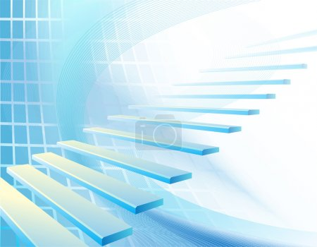 Illustration pour Fond géométrique abstrait bleu clair avec escalier - image libre de droit