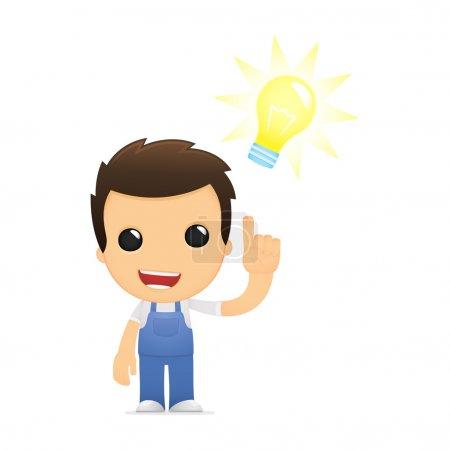 Illustration pour Mécanicien de dessin animé drôle dans diverses poses pour une utilisation dans la publicité, présentations, brochures, blogs, documents et formulaires, etc. . - image libre de droit