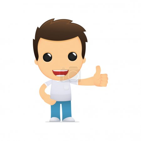 Funny cartoon casual man